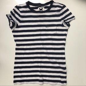 Gilly Hicks white & navy striped tee shirt